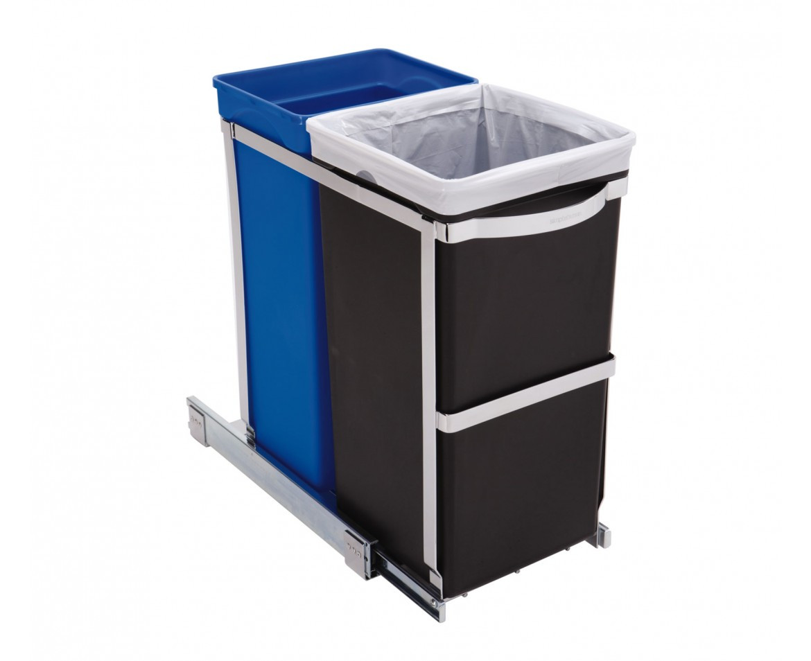 An image of simplehuman 35 Litre Pull-Out Duo kitchen recycling bin