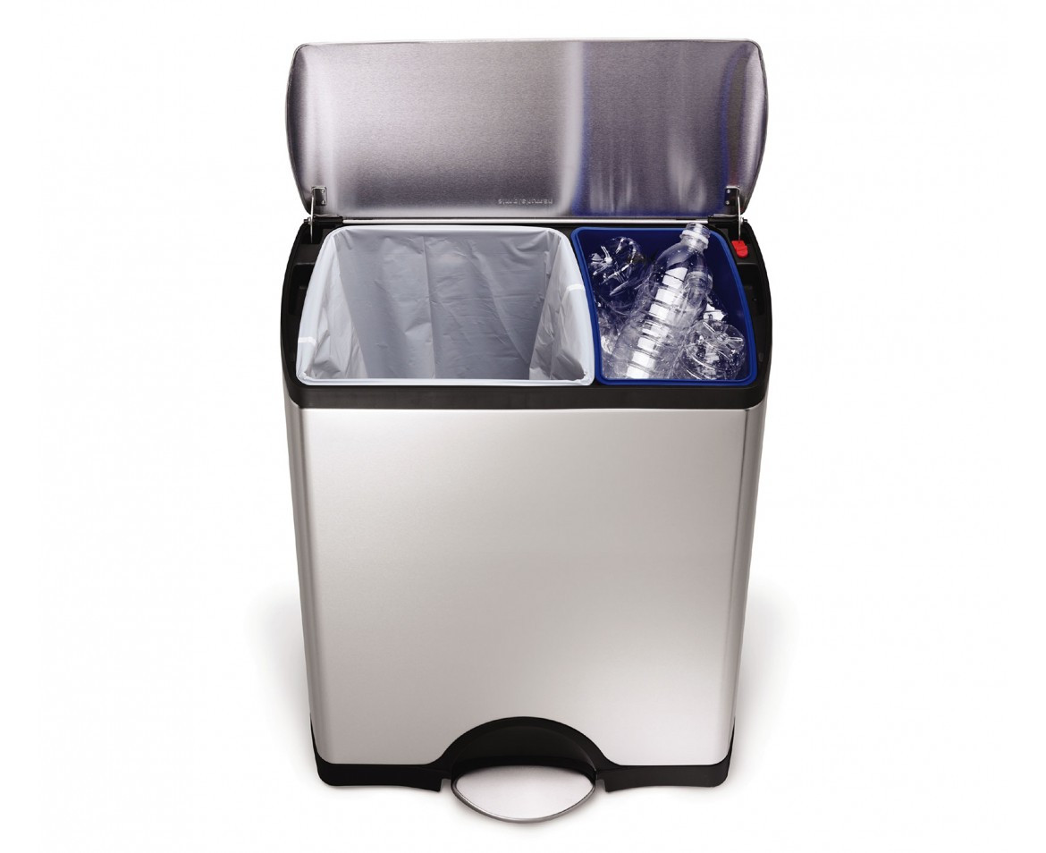 An image of simplehuman Brushed Stainless Steel Rectangular Duo Recycle Pedal Bin