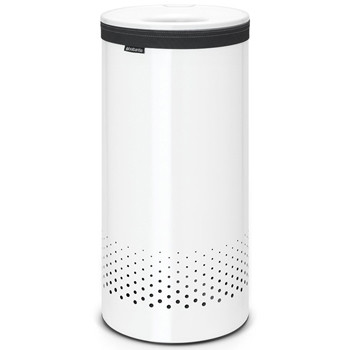 An image of Brabantia 35 Litre White Laundry Bin with White Plastic Lid