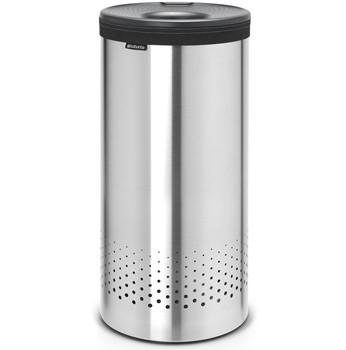 An image of Brabantia 35 Litre Matt Steel Laundry Bin with Black Plastic Lid