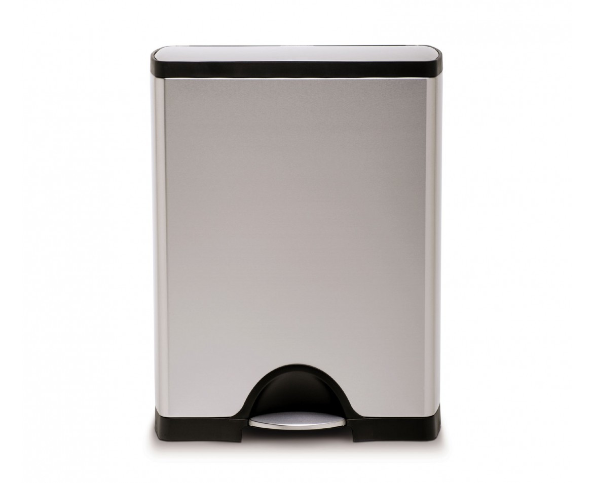 An image of Simplehuman 50 Litre Brushed Stainless Steel Rectangular Kitchen Bin